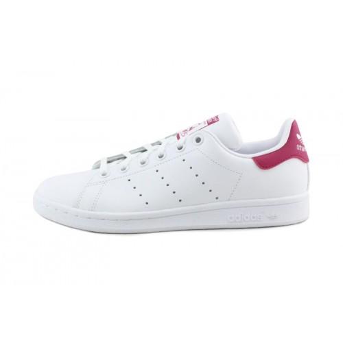 Zapatilla blanca Stan Smith con cordón y logo rosa Adidas
