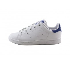 Zapatilla blanca Stan Smith con cordón y logo azul Adidas