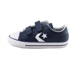 Zapatilla de piel azul con velcro Converse