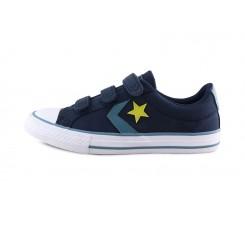 Zapatilla de lona azul/amarillo 3 velcros Converse