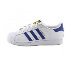 Zapatilla blanca Superstar con rayas azulonas y cordón Adidas