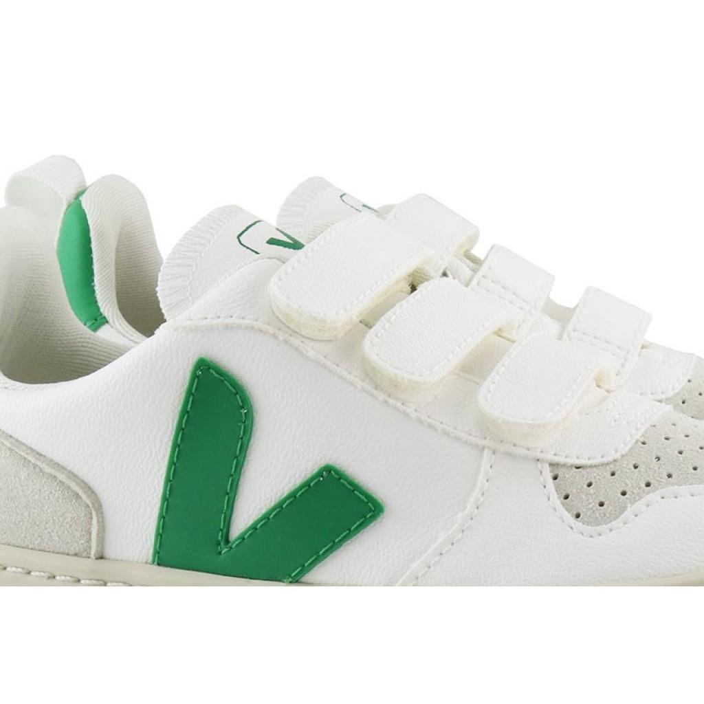 Zapatilla de velcro vegana blanco/verde Veja V10vel