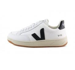 Deportiva de piel y malla blanca y negra con cordón V12 Veja