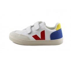 Deportiva piel blanca/rojo/azulón con velcro Veja V12
