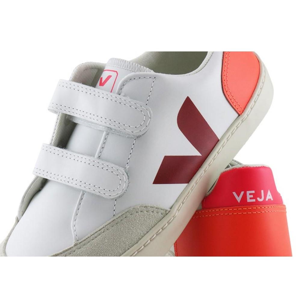 Deportiva piel blanca/burdeos/naranja con velcro Veja V12