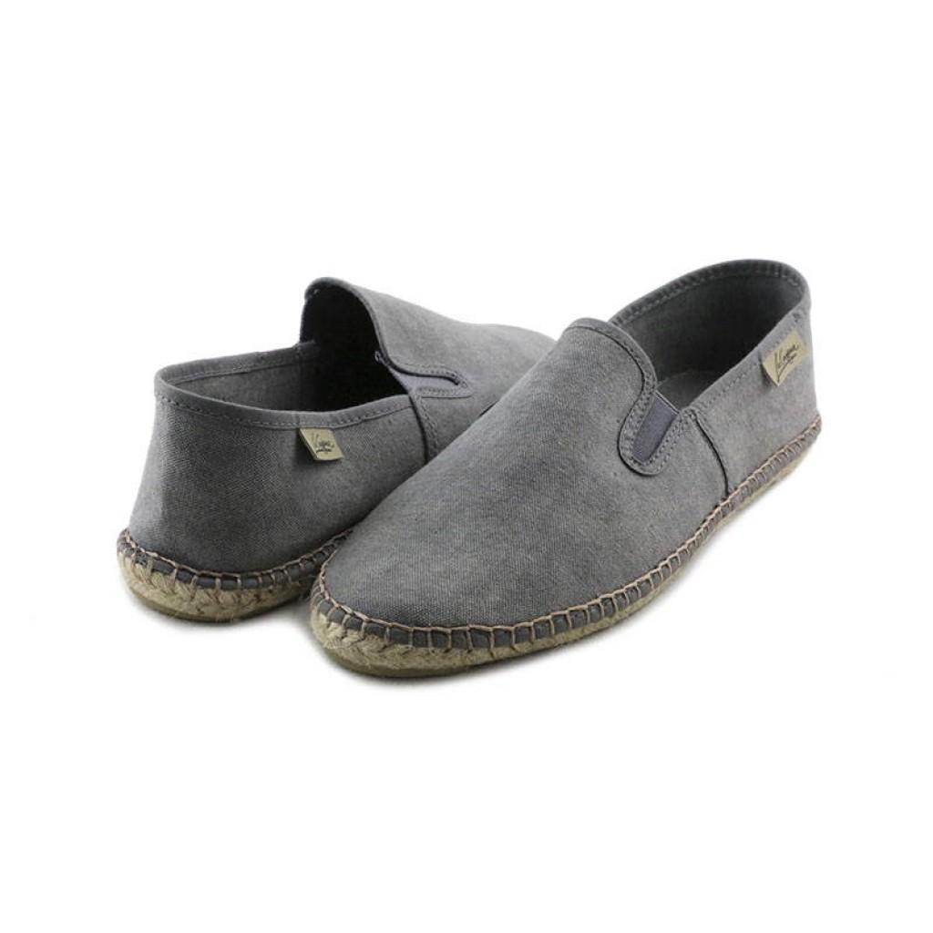 Alpargata lona gris lavado con gomas La Cadena