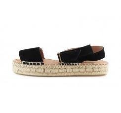 Alpargata sandalia ante negro con tira al tobillo Pepa & Cris