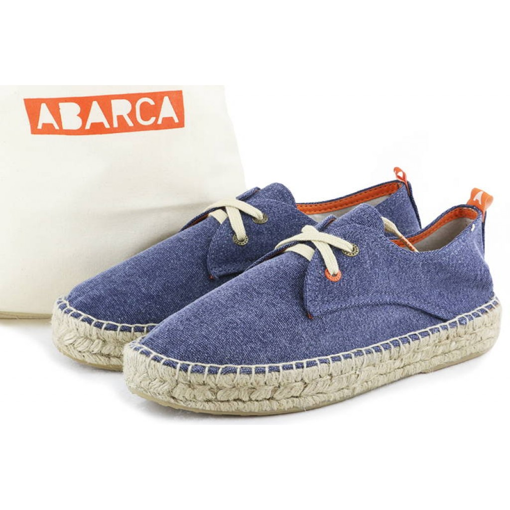 Alpargata lona azul lavado con plataforma Abarca