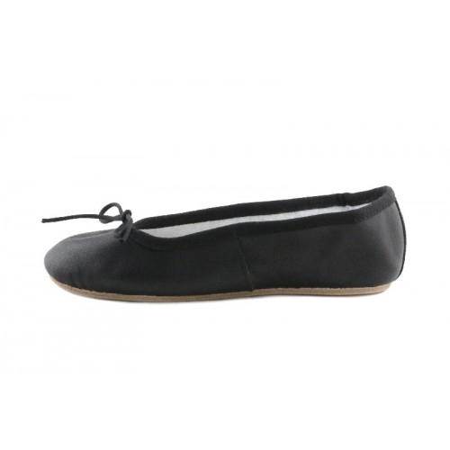 Zapatilla ballet piel negra suela dura
