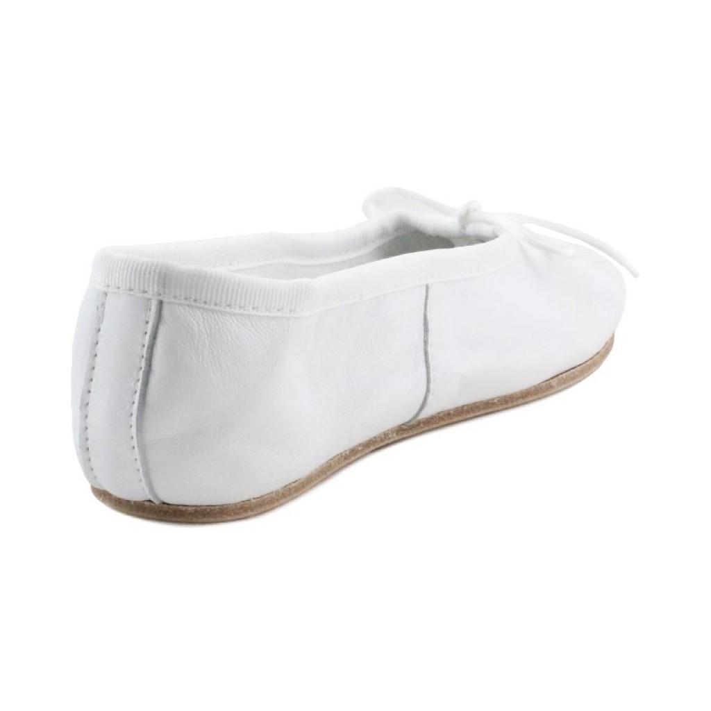 Zapatilla ballet piel blanca suela dura