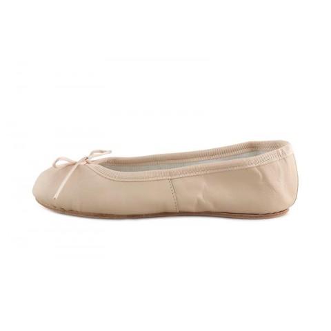 Zapatilla ballet piel nude suela dura