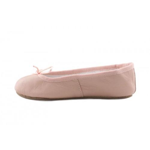 Zapatilla ballet piel rosa claro suela dura