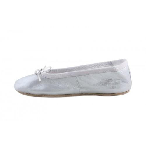 Zapatilla ballet piel plateada suela dura