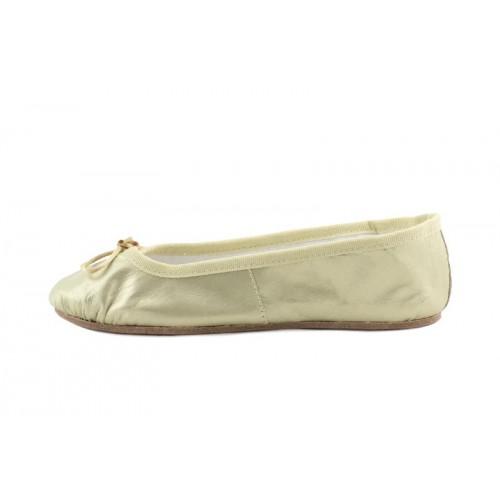 Zapatilla ballet piel dorada suela dura