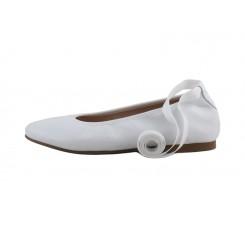 Bailarina piel blanca elásticos y cintas Jeromin