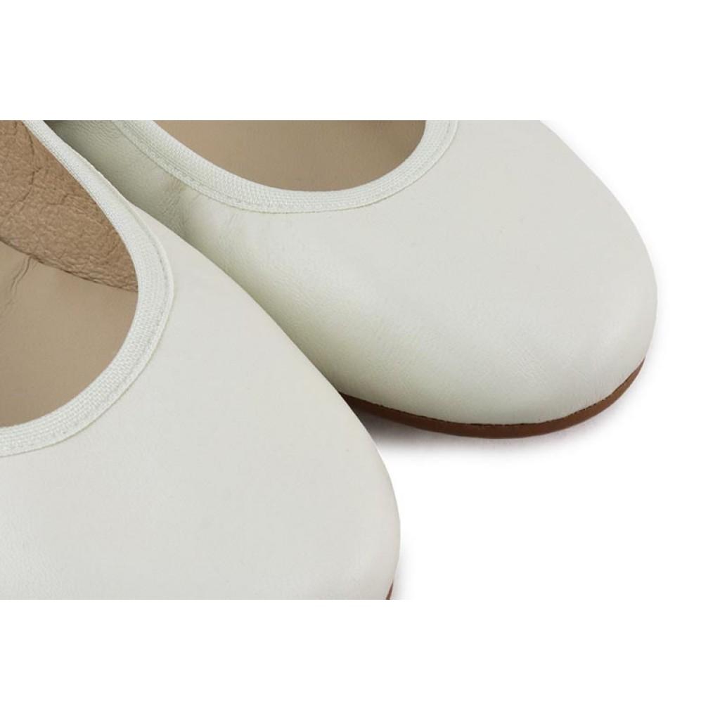 Bailarina piel beige elástico y cintas Jeromin
