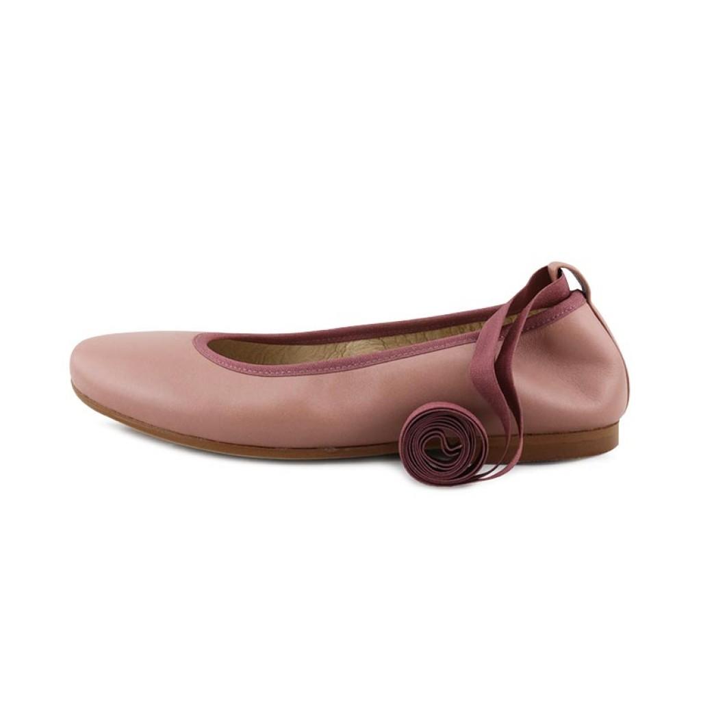 Bailarina piel rosa palo elástico y cintas Jeromin