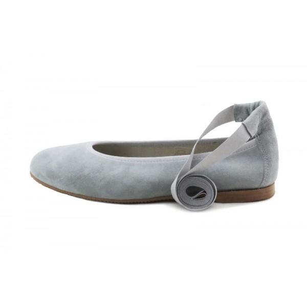 Bailarina en ante gris con cintas al tobillo Jeromin