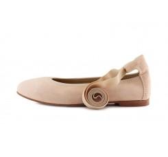 Bailarina en ante rosa con cintas al tobillo Jeromin