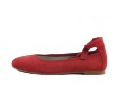 Bailarina ante rojo con cintas elásticas al tobillo Jeromin