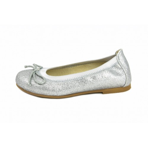 Bailarina piel purpurina plata elástico y lazo Jeromín