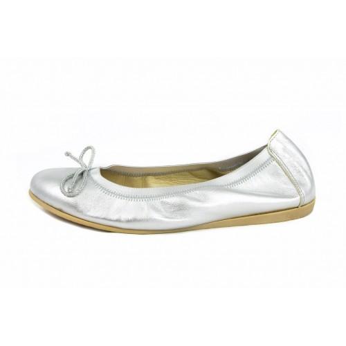 Bailarina piel plata elástico y lazo Jeromín