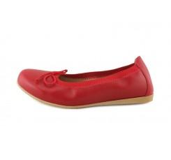 Bailarina piel roja elástico con lazo Jeromín