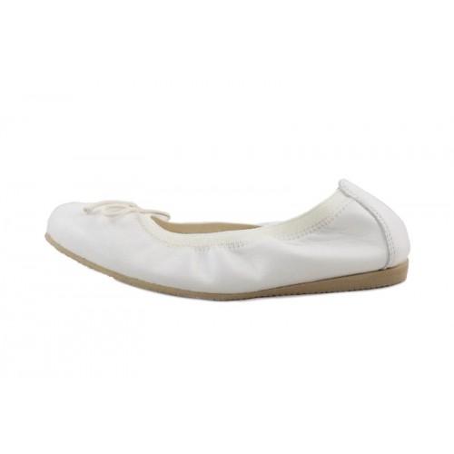 Bailarina piel beige claro elástico y lazo Jeromín