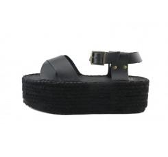 Sandalia negra con plataforma de esparto Pepa y Cris