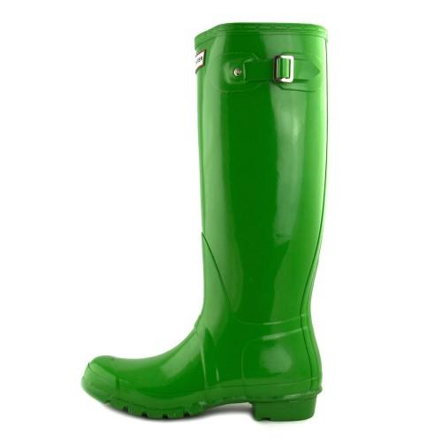 Bota de agua verde claro brillante caña alta con hebilla Hunter
