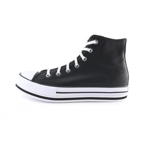 Bota de piel negra junior con plataforma Converse