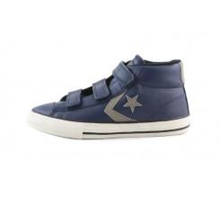 Bota piel azul con velcro Converse