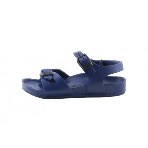 Sandalia azul dos tiras con hebillas Birkenstock