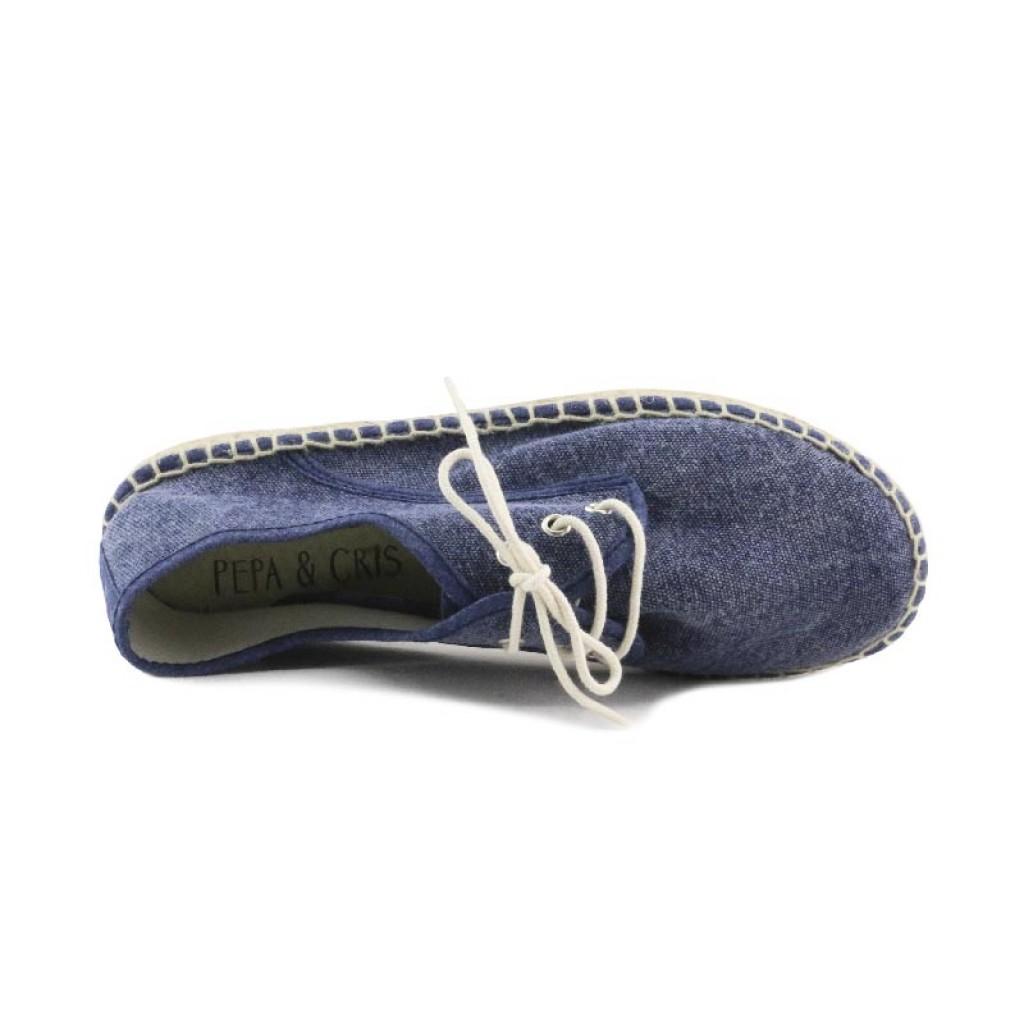 Alpargata azul lavado con cordón Pepa & Cris