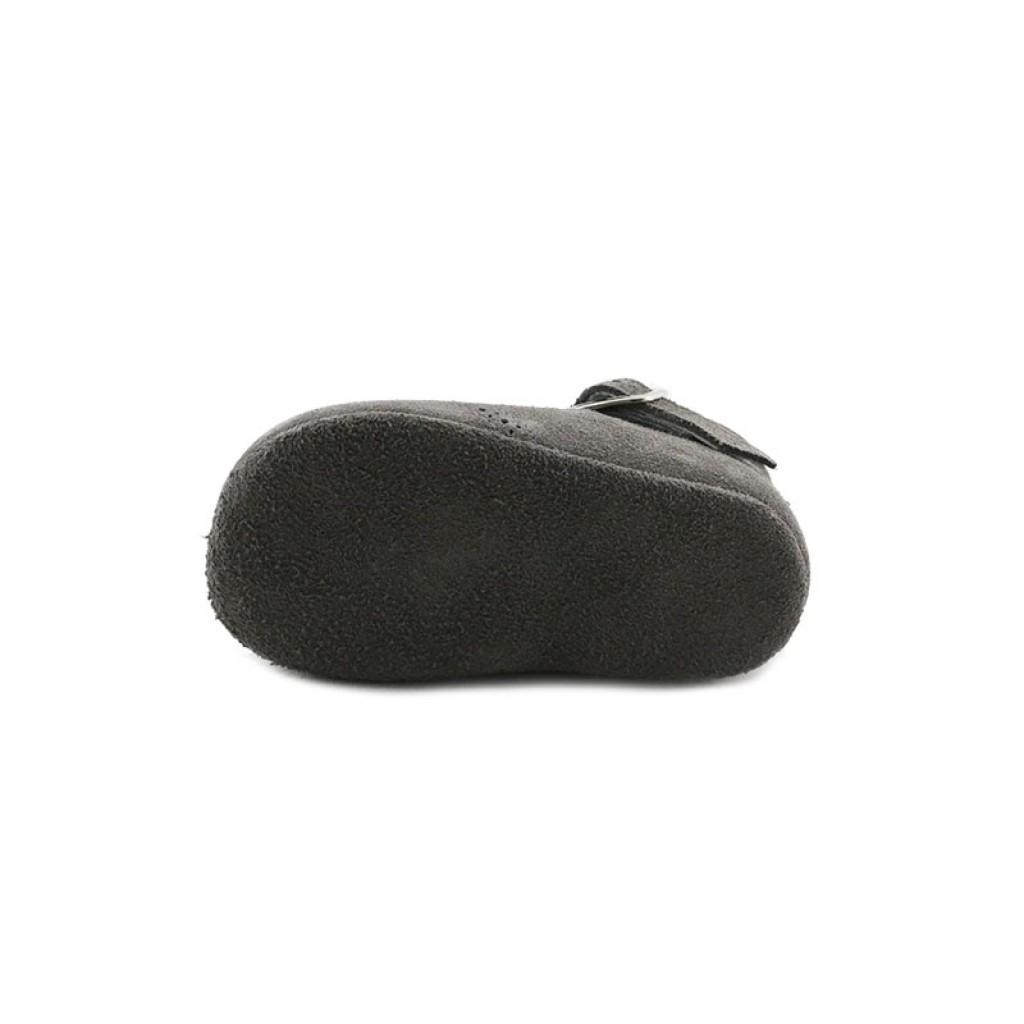 Sandalia de cuna ante gris con hebilla Jeromín