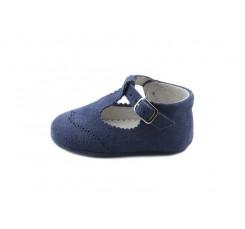 Sandalia de cuna ante azulón con hebilla Jeromin