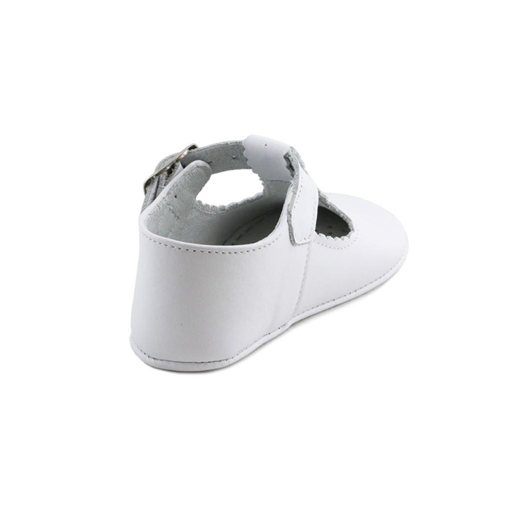Sandalia cuna hebilla piel blanca Jeromín