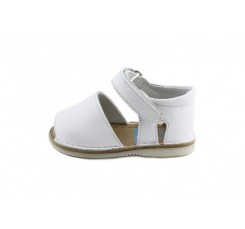Sandalia con velcro piel blanca Jeomín