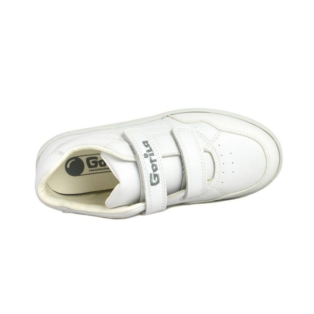 Zapatilla deportiva blanca con velcro Gorila