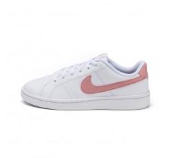 Deportiva blanca con símbolo rosa y  con cordón Nike Court