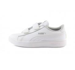 Zapatilla deportiva en piel blanca con velcro Smash Puma