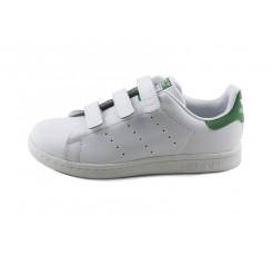 Zapatilla blanca Stan Smith con velcro verde Adidas
