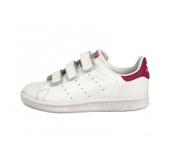 Zapatilla blanca Stan Smith con velcro y fucsia Adidas