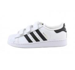 Zapatilla blanca Supervel con velcro líneas en negro Adidas
