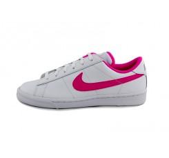 Deportiva piel blanca con símbolo rosa chicle Nike Tennis
