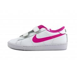 Deportiva piel blanca símbolo rosa chicle con velcro Nike Tennis