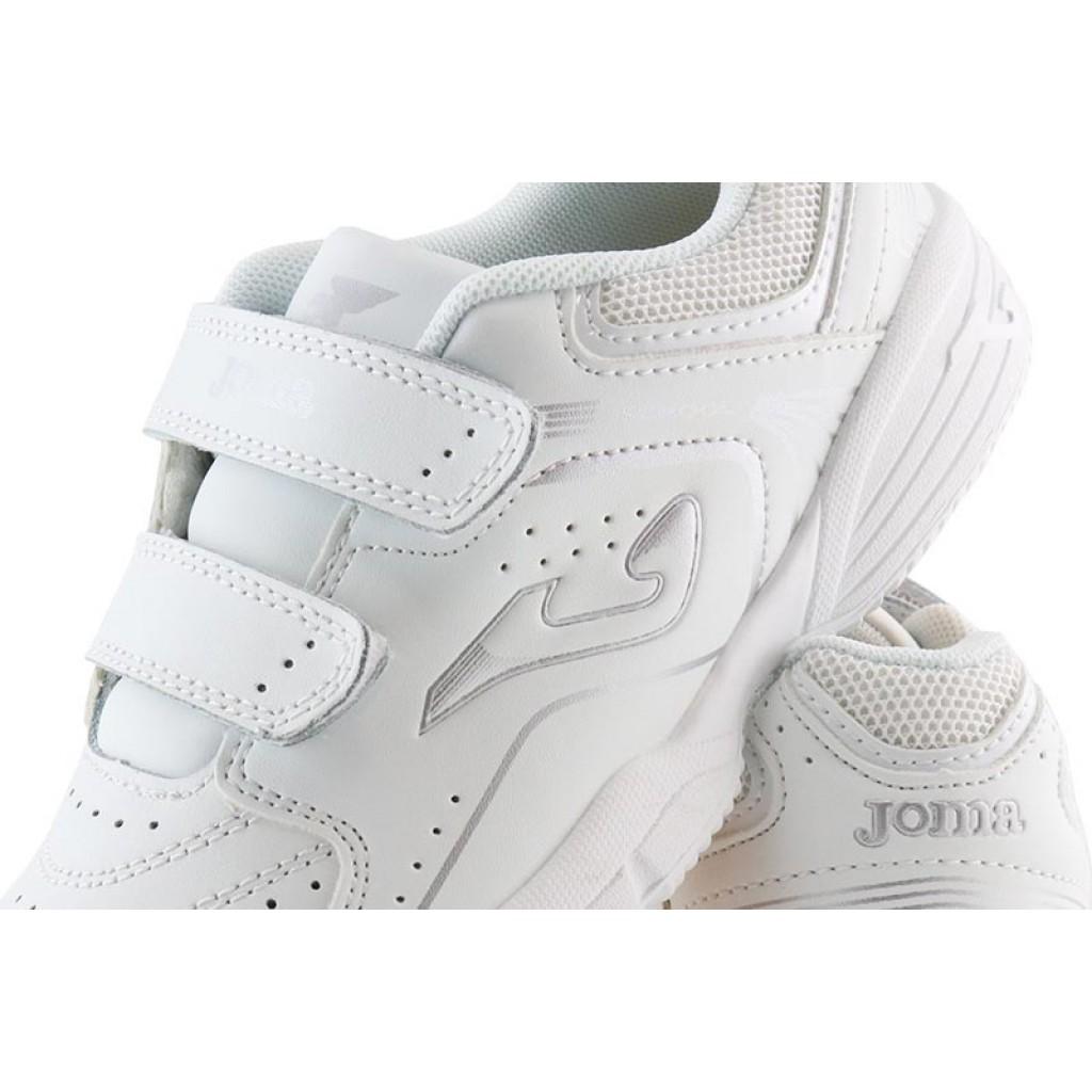 Deportiva en piel total blanca/plata con velcro Joma