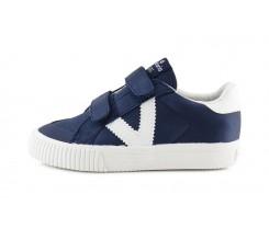 Zapatilla deportiva de tela azul con velcro Victoria