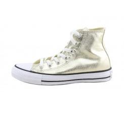Bota de lona metalizada en dorado cordón Converse