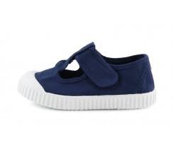 Sandalia de lona azul lavado con velcro Victoria